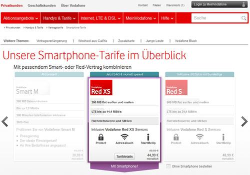 Screenshot von der Vodafone-Webseite